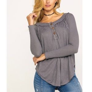 Free People Storm Grey Must Have Henley Top. NWT